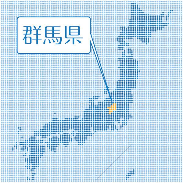 ドットで表現された日本地図と群馬県の位置