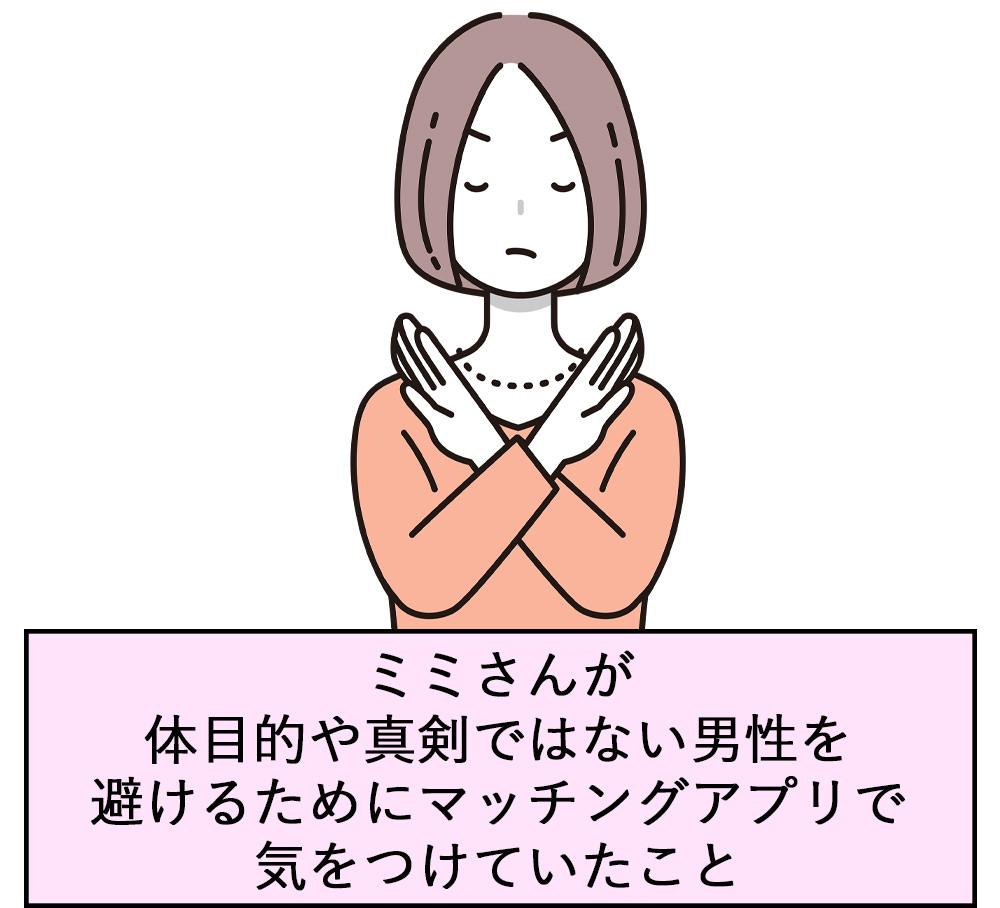 ミミさんが体目的や真剣ではない男性を避けるためにマッチングアプリで気をつけていたこと