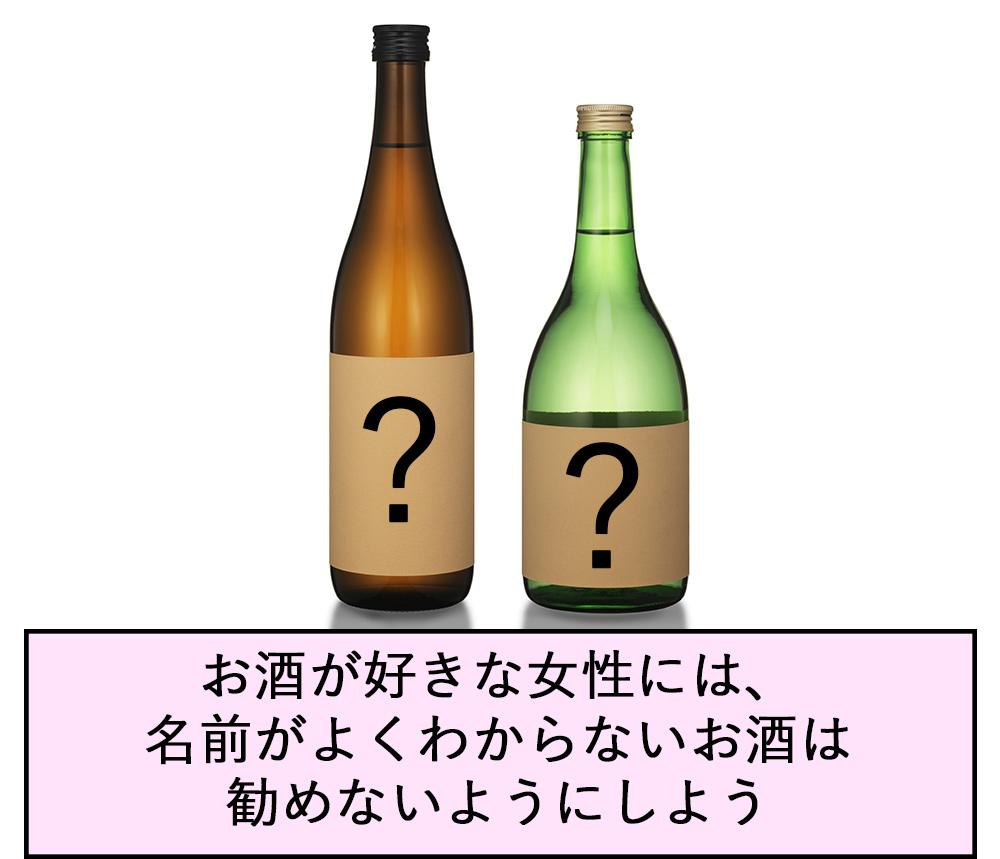 お酒が好きな女性には、名前がよくわからないお酒は勧めないようにしよう