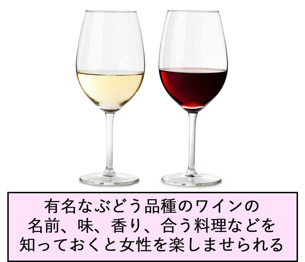 有名なぶどう品種のワインの名前、味、香り、合う料理などを知っておくと女性を楽しませられる